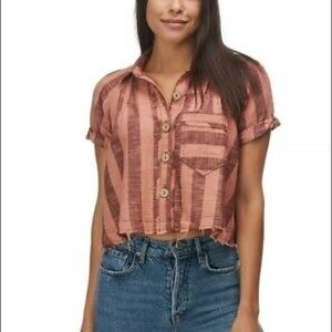 Free People Away Sea Striped Crop Button Top NEW